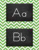 Chevron Alphabet Wall Cards Manuscript & Cursive - Green