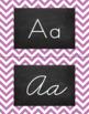 Chevron Alphabet Wall Cards Manuscript & Cursive - Purple & Black