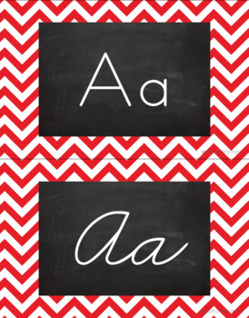 Chevron Alphabet Wall Cards Manuscript & Cursive - Red & Black