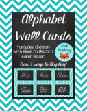 Chevron Alphabet Wall Cards Manuscript & Cursive - Turquoise & Black