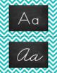 Chevron Alphabet Wall Cards Manuscript & Cursive - Turquoise & Black