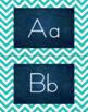 Chevron Alphabet Wall Cards Manuscript & Cursive - Turquoise & Navy