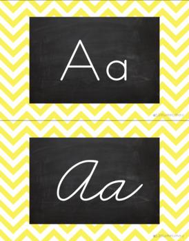 Chevron Alphabet Wall Cards Manuscript & Cursive - Yellow