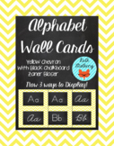 Chevron Alphabet Wall Cards Manuscript & Cursive - Yellow & Black