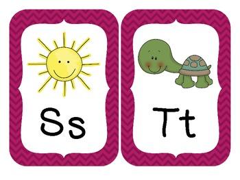 Chevron Alphabet Wall Cards (Pink)