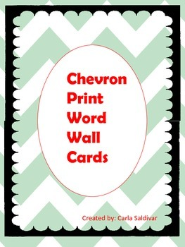 Chevron Alphabet Word Wall Cards