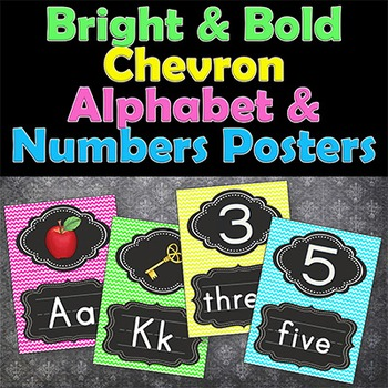 Illustrated Alphabet Posters and Numbers Posters in Chevron Brights