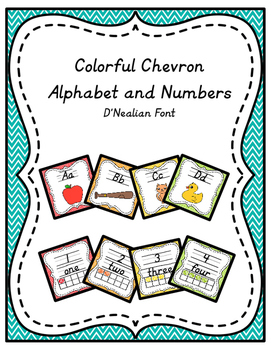 Chevron Alphabet and Numbers in D'Nealian