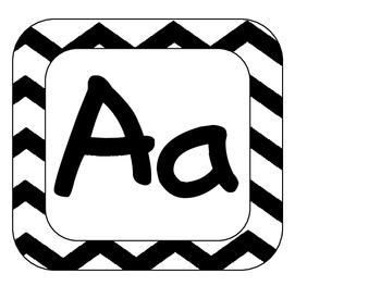 Chevron Alphabet for Word Walls or games in black and white ~ FREEBIE ~