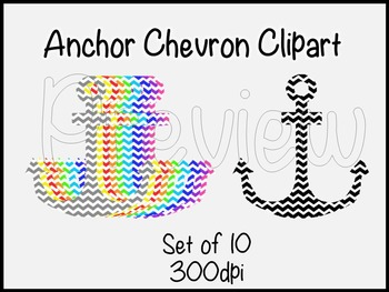 Chevron Anchor Clipart-set of 10