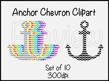 Chevron Anchor Clipart-set of 10