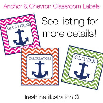 Chevron & Anchor Nautical Classroom Supply Labels