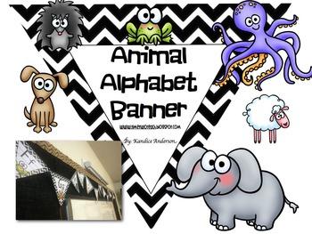 Chevron Animal Alphabet Pennant Banner
