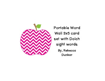 Chevron Apple Themed Portable Word Wall with Dolch Sight word Cards