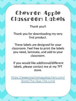 Chevron Apples Classroom Labels