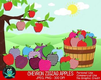Chevron Print Apples {Upzaz Digital Clipart}