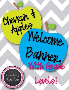 Welcome Banner {Chevron & Apples Theme} * Back to School *