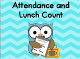 Chevron Attendance and Lunch Count Clip Chart - Blue
