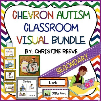 Chevron Autism Middle & High School Classroom Visual Bundle