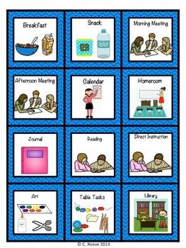 Chevron Autism Middle & High School Classroom Visual Bundle
