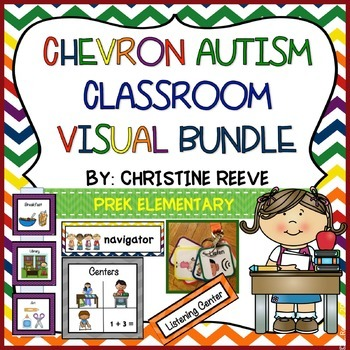 Chevron Autism Pre-K - Elementary Classroom Visual Bundle