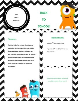 Chevron Back to School Newsletter