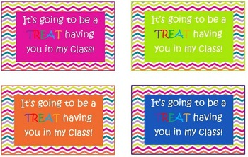 Chevron Back to School Treat Labels