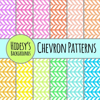 Chevron Backgrounds in Rainbow Colors Backgrounds / Patterns / Digital Papers