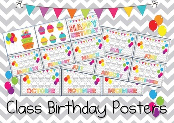 Chevron, Balloons and Cupcakes Class Birthday Posters