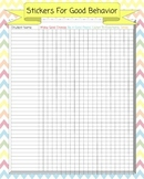 Chevron Behavior Chart Poster - Sticker Rewards for Whole Class