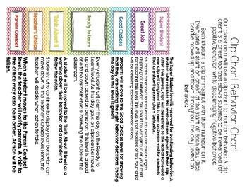 Chevron Behavior Clip Chart Multiple Colors for Magnetic Board