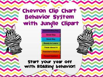 Chevron Behavior Clip Chart with Jungle Animals