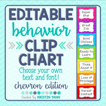 Behavior Clip Chart: Chevron *EDITABLE*