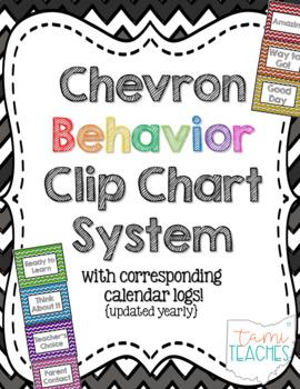 Chevron Classroom Management Behavior System [clip chart & calendar logs]