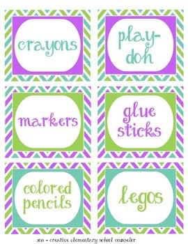 Purple, green and teal - Chevron Bin Labels