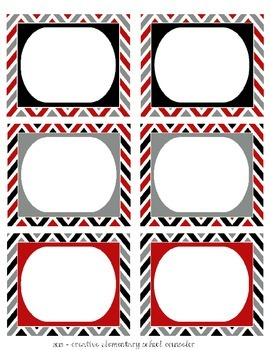 Red, Gray and Black - Chevron Bin Labels - Editable