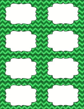 Chevron Bin Labels - Green - Editable