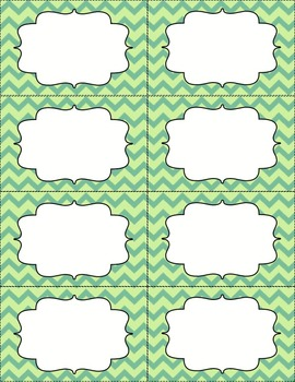 Chevron Bin Labels - Light Green - Editable