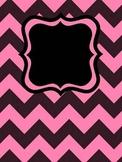 Chevron Binder Covers Editable (Black w/colors)