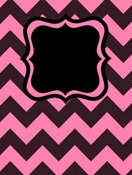 Chevron Binder Covers Editable (Black w/colors)