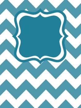 Chevron Binder Covers Editable (White w/colors)