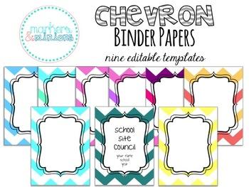 Chevron Binder Papers (Editable!)