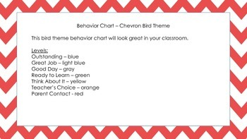 Chevron Bird Behavior Chart