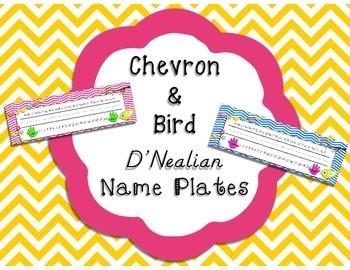 Chevron & Bird D'Nealian Name Plates