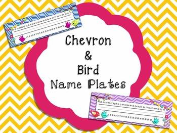 Chevron & Bird Name Plates (Ball & Stick)