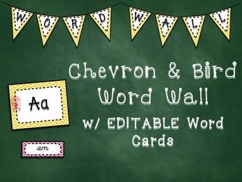 Chevron & Bird Word Wall with Editable Word Cards