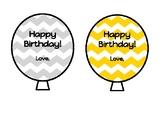 Chevron Birthday Balloons Straw