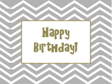 Chevron Birthday Bulletin Board - Editable