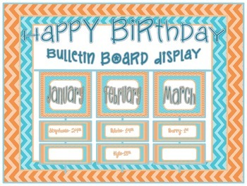 Birthday Bulletin Board Display- Chevron