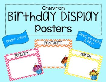 Chevron Birthday Display Posters